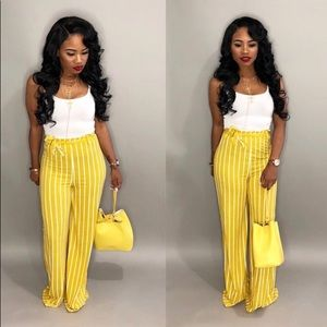 Pants - Striped Mustard Wide Leg Pants